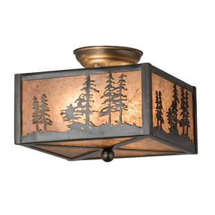 Meyda Tiffany Greenbriar Oak Tall Pines 2-Light Semi-Flush Mount