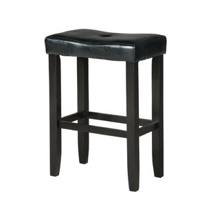 Nakashima Upholstered Wooden Backless 30 Bar Stool (Set of 2) by Winston Porter