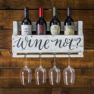 Truluck Wine Not? 4 Bottle Wall Mounted Wine Rack