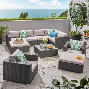 Cabral Outdoor Sectional Seating Group with Cushions by Sol 72 Outdoor