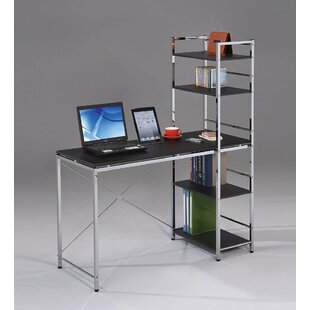 Wilmes Home Office Computer Desk with Built-in Bookcase