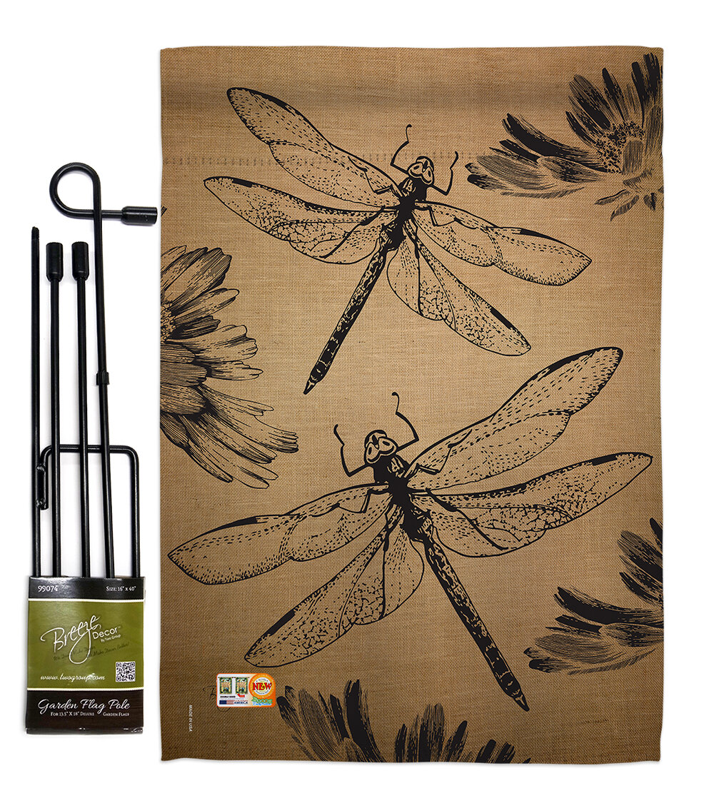 Dragonfly Garden Friends 2 Sided Polyester 1 5 X Ft Flag Set