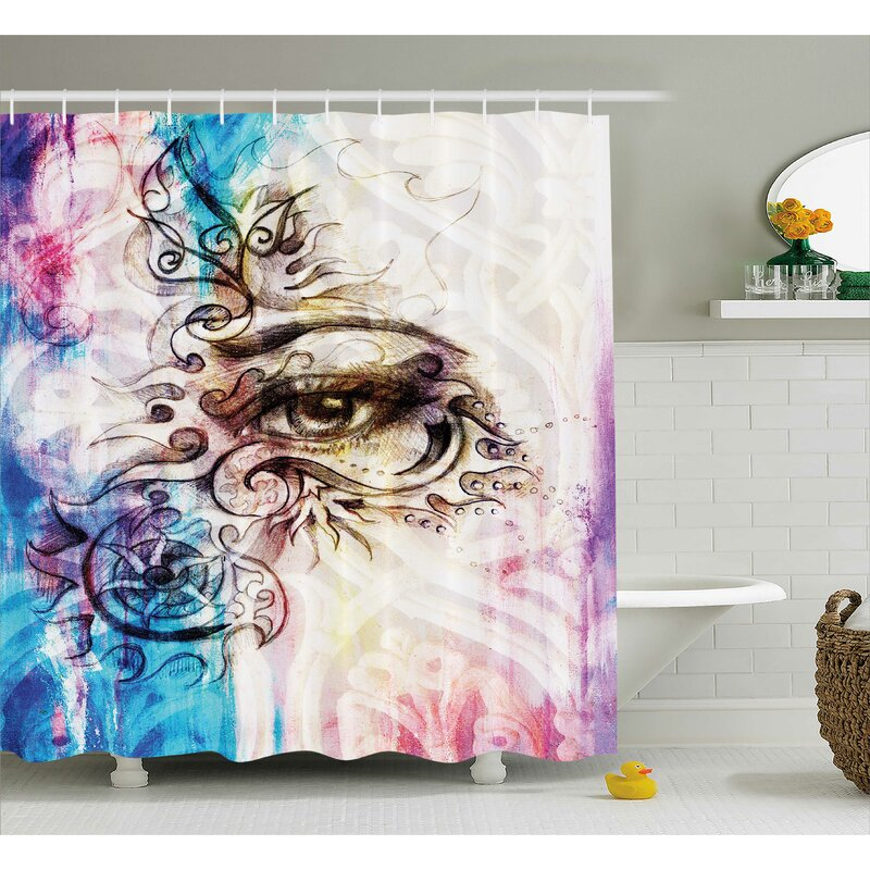 Fabric Woman Eye Grungy Retro Shower Curtain