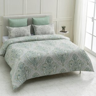 Gering 100% Organic Cotton Wrinkle Free Reversible Duvet Cover Set.