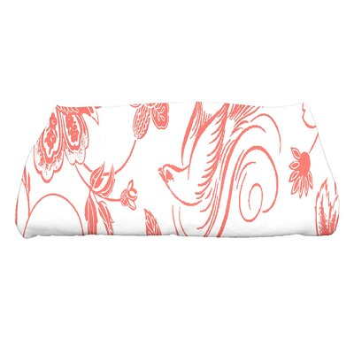 Lark Manor Cecilia Traditional Bird Floral Bath Towel Colour: Coral