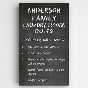 Personalized Laundry Room Rules Sign Textual Art On Canvas