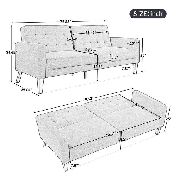Keysean Twin 79.53'' Wide Tufted Back Convertible Sofa