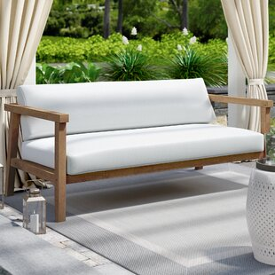 Edmeston Outdoor Teak Loveseat with Cushions