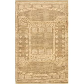 World Menagerie One Of A Kind Hardyston Hand Knotted 1900s Isfahan Green 3 9 X 5 4 Wool Area Rug Wayfair