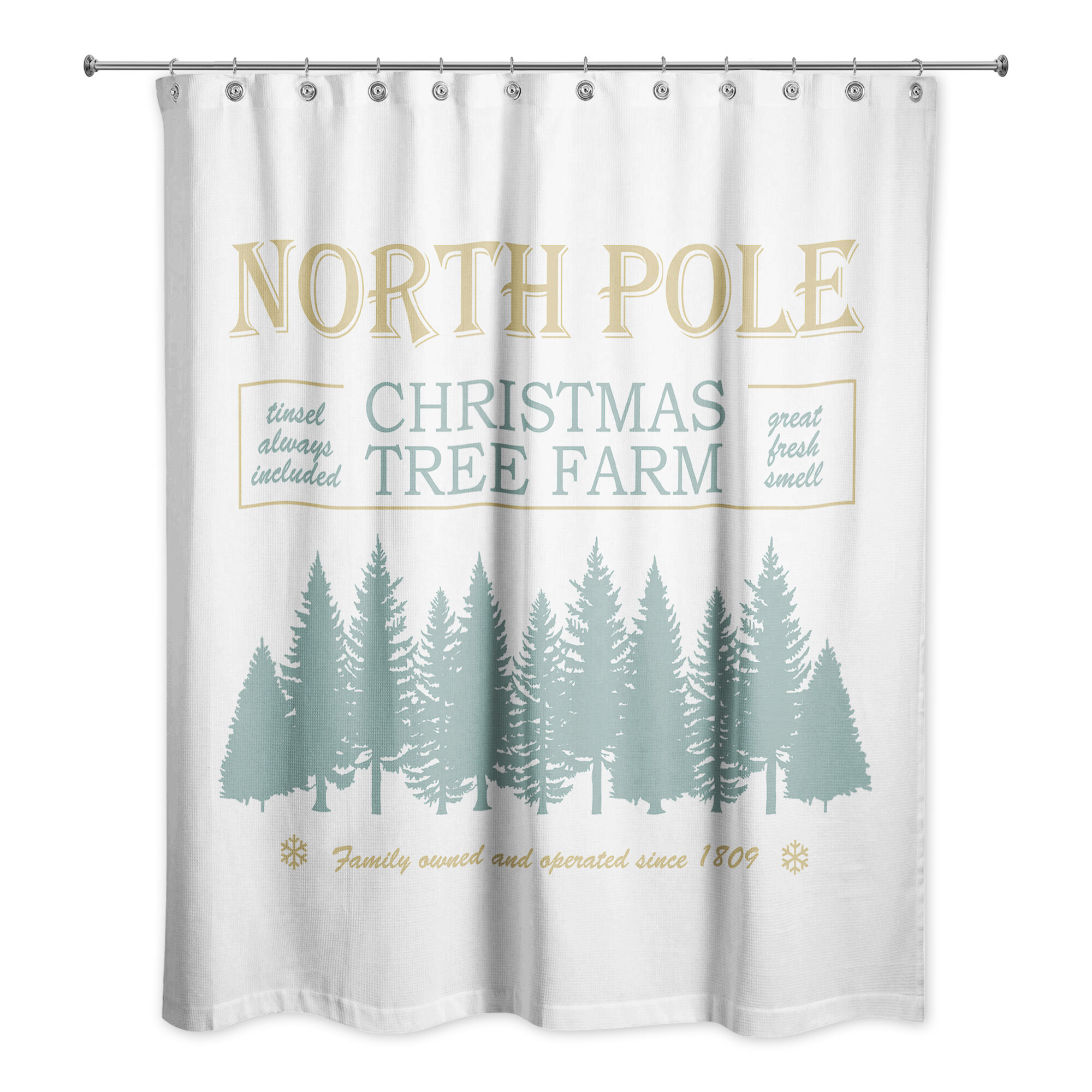 The Holiday Aisle Woolsey North Pole Christmas Tree Single Shower Curtain Wayfair