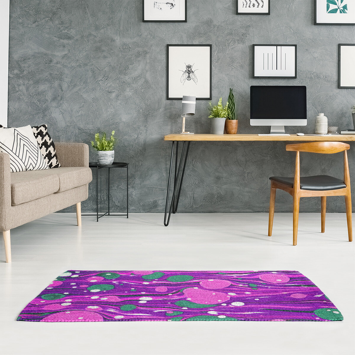 East Urban Home Mcguigan Paint Swirls Purple Area Rug Wayfair