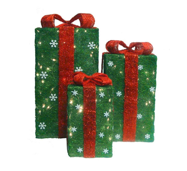 the holiday aisle 3 piece sisal gift boxes christmas yard art lighted display set reviews wayfair
