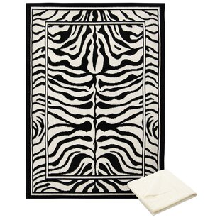 Order Barlow Black/White Area Rug with Rug Pad By Bloomsbury Market