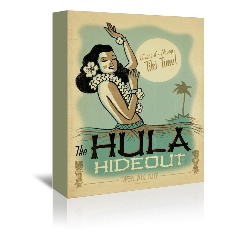 East Urban Home Hula Hide Out Vintage Advertisement On Gallery Wrapped Canvas Wayfair
