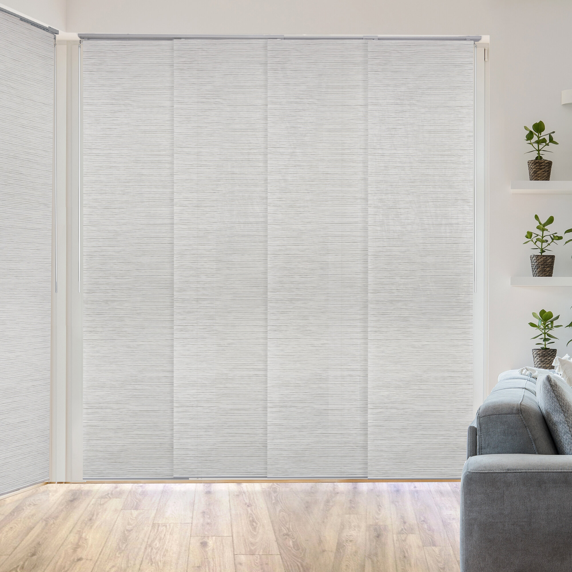 Orren Ellis Deluxe Adjustable Sliding Room Darkening White Gray Vertical Blind Reviews Wayfair