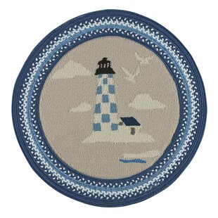 Wieland Maritime Lighthouse Hand-Braided Blue Area Rug by Breakwater Bay