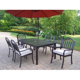 Red Barrel Studio Lisabeth Traditional 7 piece Dining Set with Cushions and Umbrella