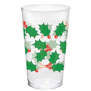 Christmas Holly Plastic Disposable Every Day Cup (Set of 25)