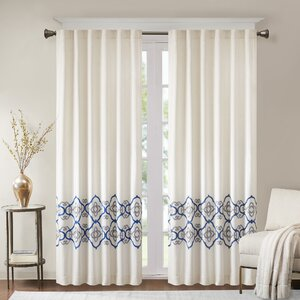 Akemi Border Embroidered Solid Room Darkening Tab Top Single Curtain Panel