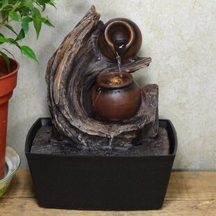 Sammons Resin Pots Swirl Fountain With LED Light Image