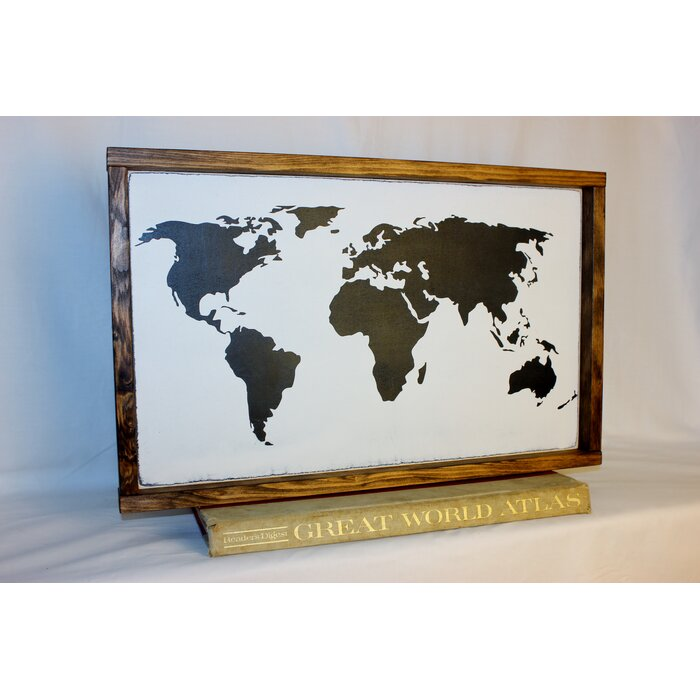 Bungalow Rose \'World Map\' Framed Textual Art on Wood | Wayfair.ca
