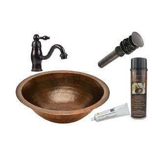 Deals Metal Circular Undermount Bathroom Sink with Faucet By Premier Copper Products