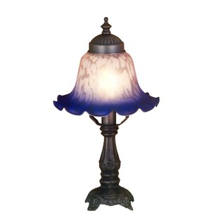 Victorian Petal Pink and Blue Bell Shade Mini Table Lamp in Mahogany Bronze