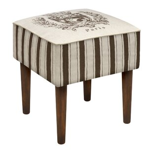123 Creations Paris Crest Upholstered Vanity Stool