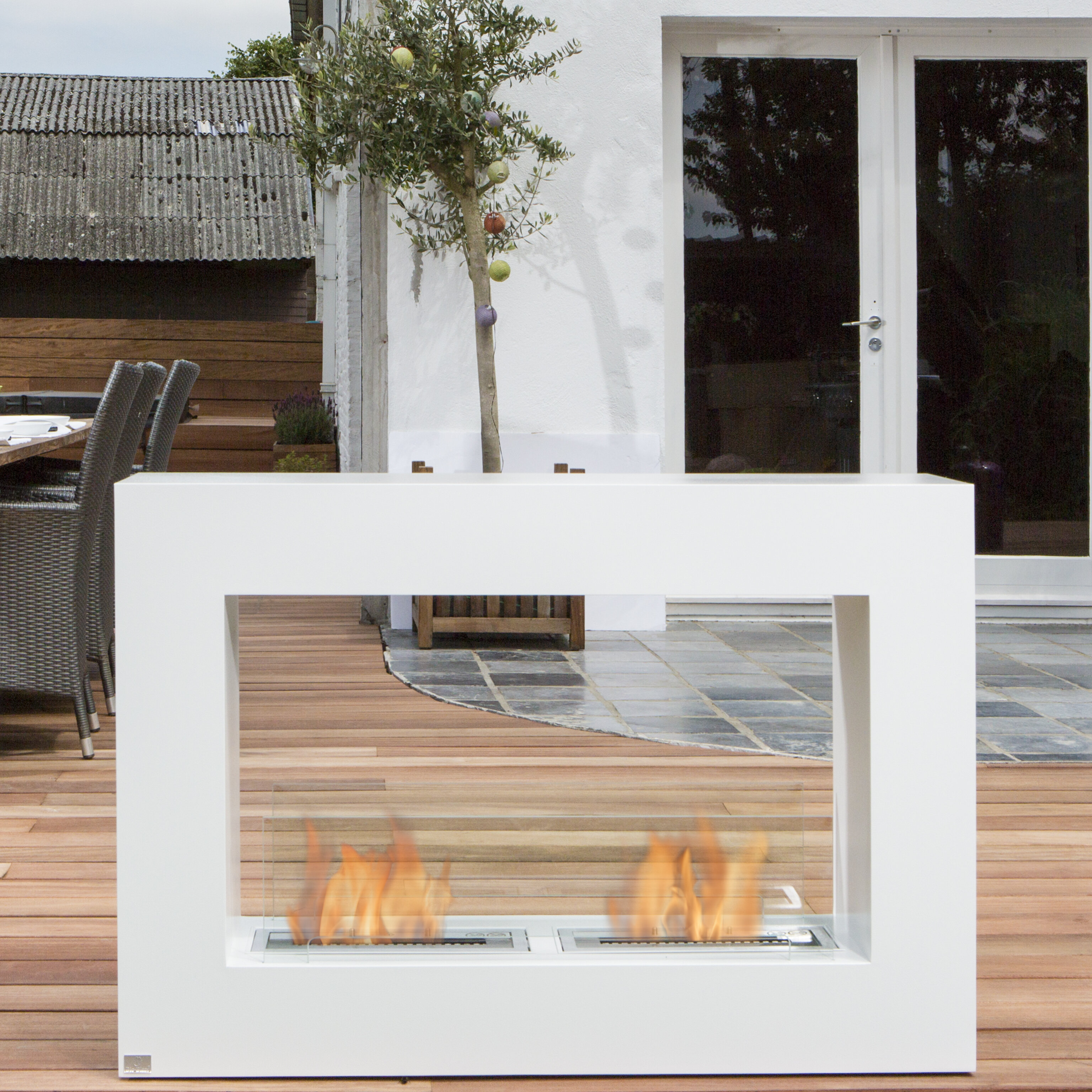 Bio-Blaze Qube Stainless Steel Bio-Ethanol Fuel Outdoor Fireplace ...