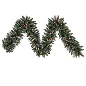 Snow Tipped Pine and Berry Christmas Garland Unlit