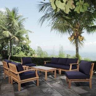Elaina Outdoor Patio 8 Piece Teak Sectional Seating Group with Cushion