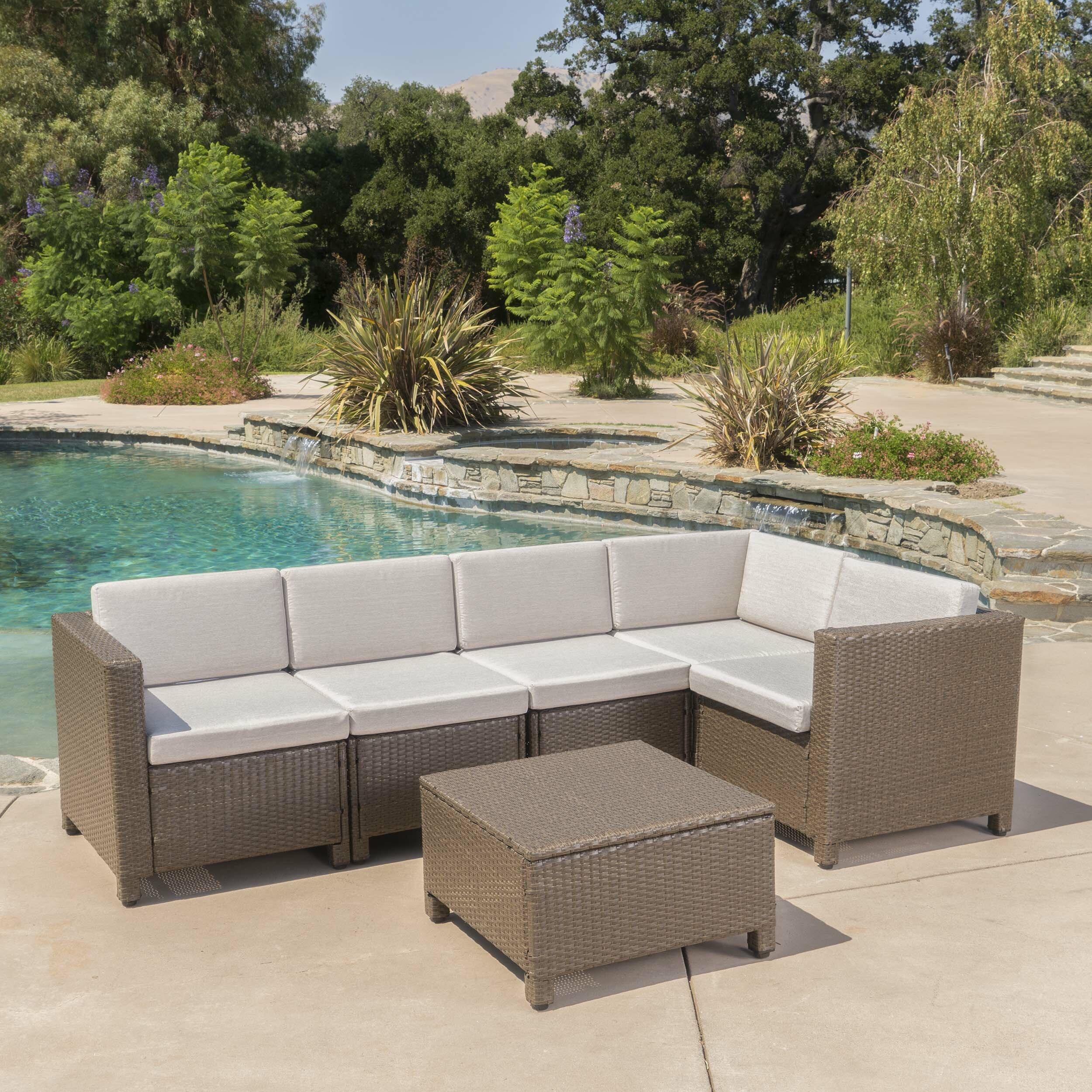 Wade Logan Furst 6 Piece Rattan Sectional Seating Group With Cushions Reviews Wayfair