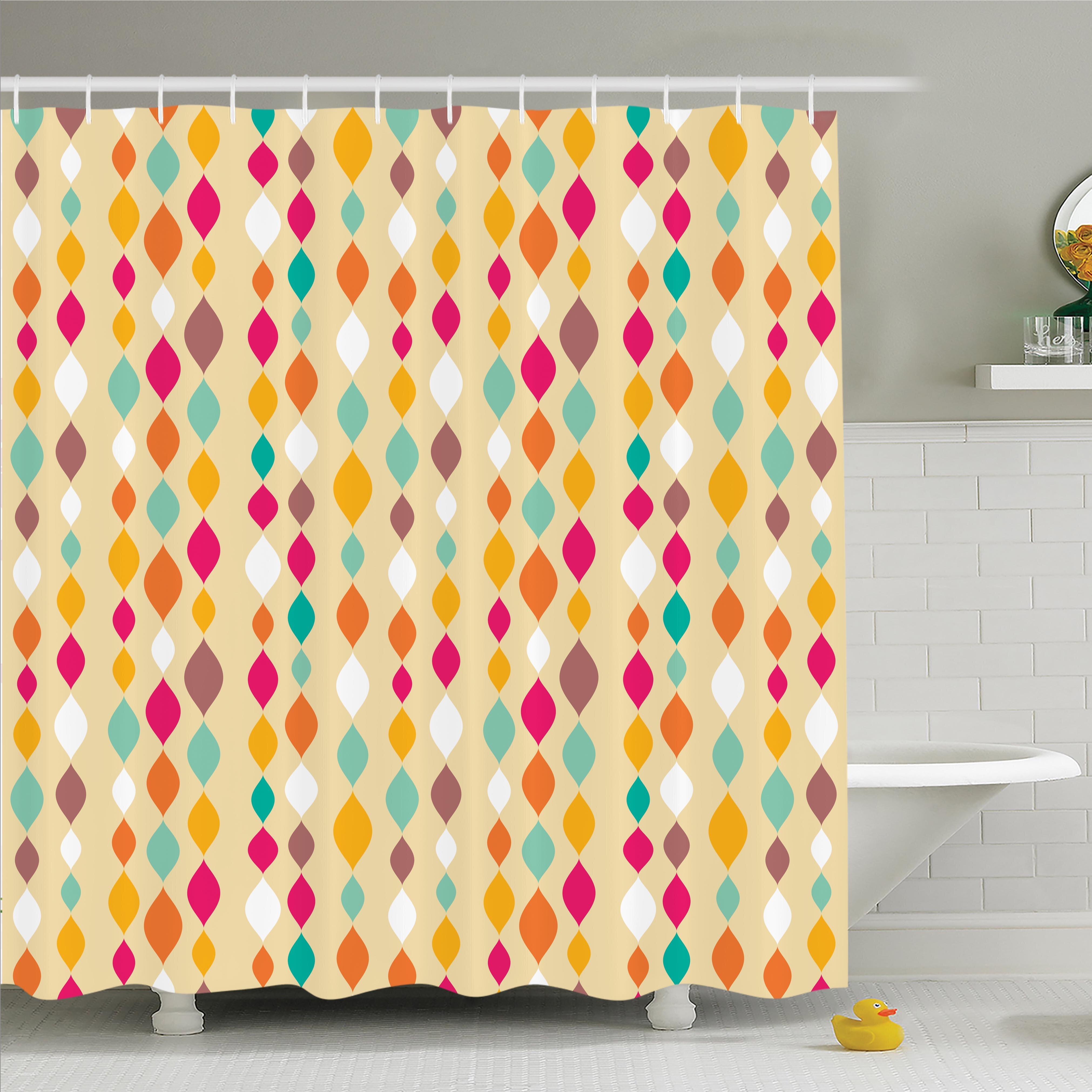 Vintage Retro Colorful Circles Shower Curtain Set