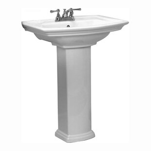 Gaynell Vitreous China Pedestal Bathroom Sink with Overflow