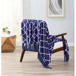 Great Bay Home Ultra Velvet Plush Throw Blanket with Lattice Scroll Design and Decorative Fringe