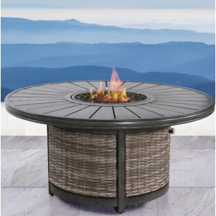 Living Source International Vardin Resort Wicker Propane Fire Pit Table