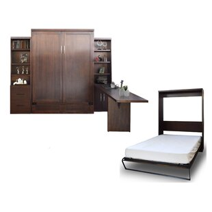 Brayden Studio Quinn Queen Murphy Bed with Drawer Bookcase and Door Bookcase and Desk
