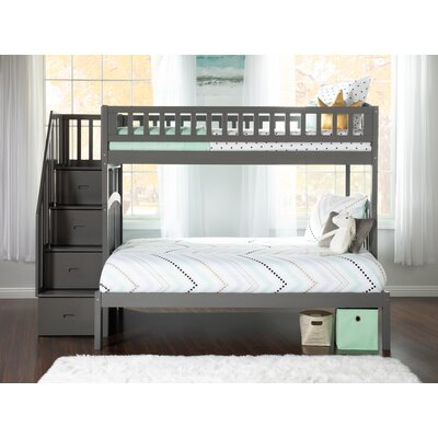 Westbrook Staircase Twin over Full Bunk Bed in Espresso Atlantic Furniture Bed Frame Color: Grey