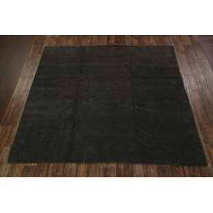 Compare One-of-a-Kind Fortune Indian Oriental Hand-Knotted 9'9'' x 9'8'' Wool Black Area Rug By Ebern Designs