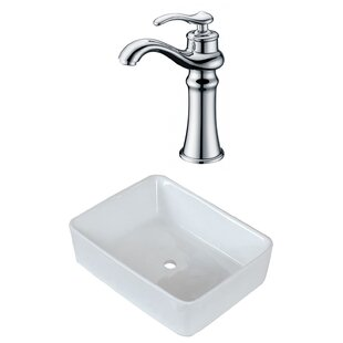 Reviews Above Counter Ceramic Rectangular Vessel Bathroom Sink with Faucet By Royal Purple Bath Kitchen
