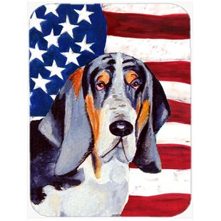 Patriotic USA American Flag with Basset Hound Glass Cutting Board By Caroline's Treasures