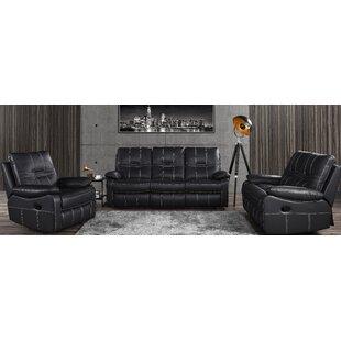 Mallon Reclining 3 Piece Leather Living Room Set