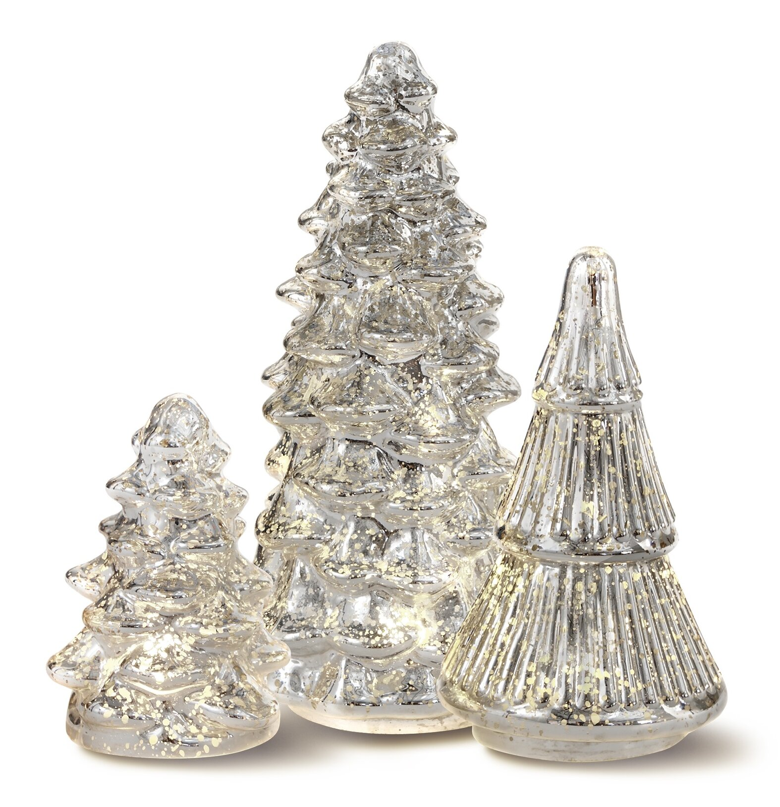House Of Hampton 3 Piece Led Glass Christmas Tree Set Wayfair