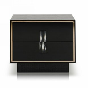 Compare Sommerset Crocodile Lacquer 2 Drawer Nightstand by Orren Ellis