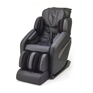 Latitude Run L-Track Leather Zero Gravity Massage Chair with Ottoman