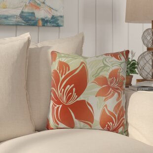 Costigan Tree Mallow Floral Print Outdoor Throw Pillow