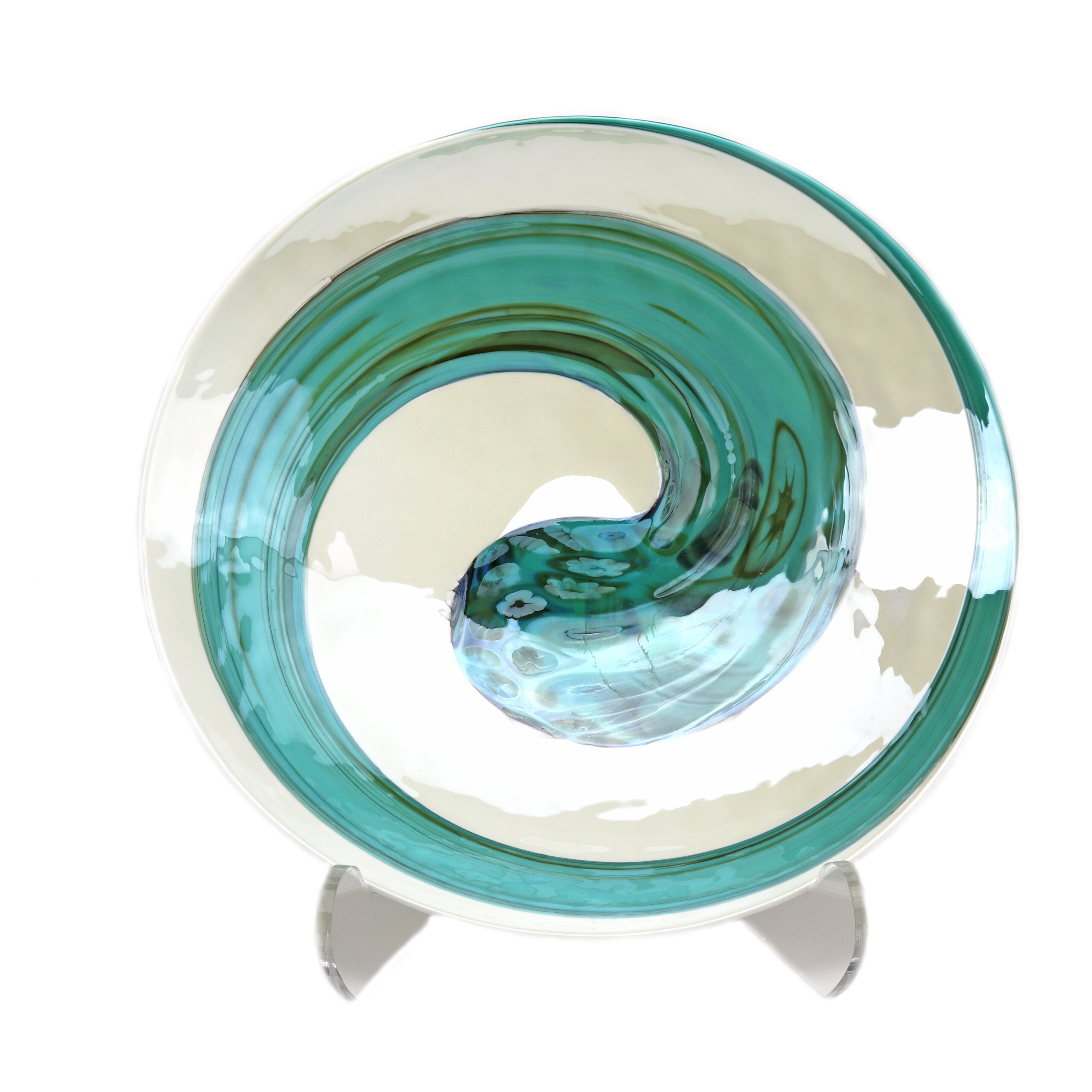 Rosecliff Heights Dede Glass Oval Beachy Decorative Plate In Ivory Teal Green Wayfair