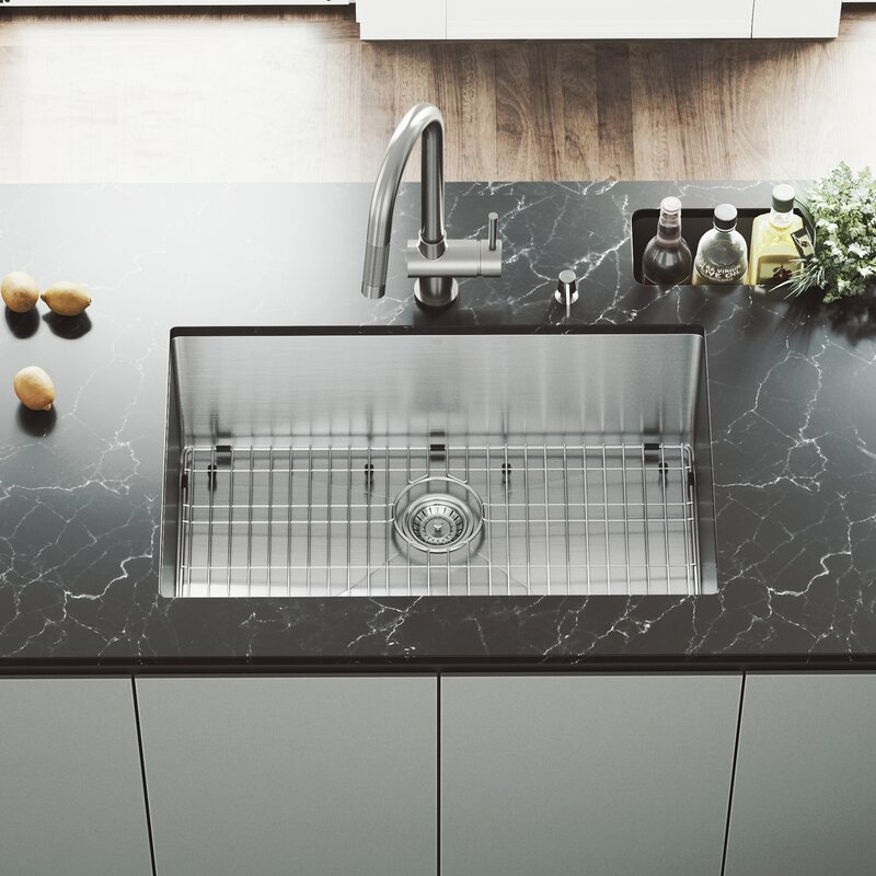Ordinaire VG15253 30 Inch Undermount Single Bowl 16 Gauge Stainless Steel Kitchen Sink  With Gramercy Stainless Steel Faucet, Grid, Strainer And Soap Dispenser