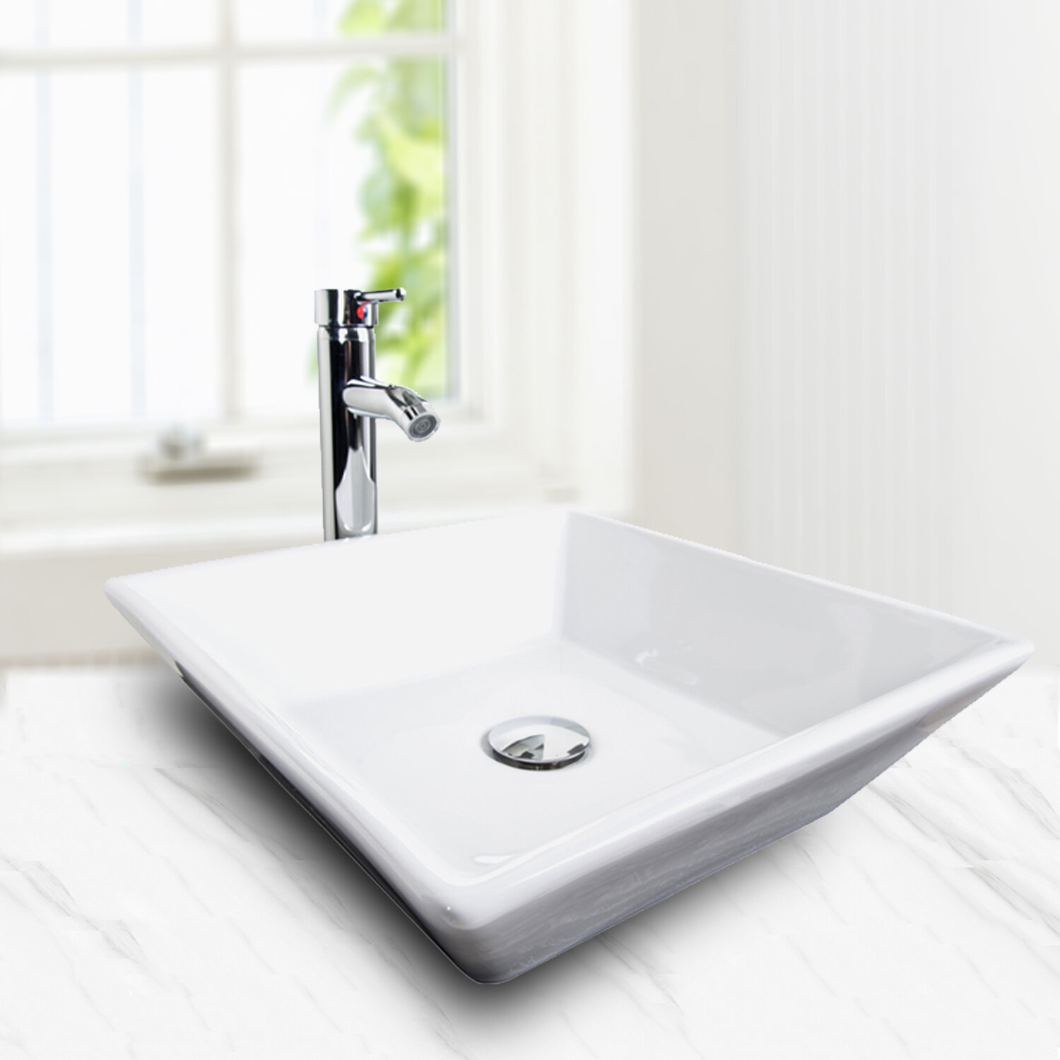 Elecwish Ceramic Square Vessel Bathroom Sink With Faucet Wayfair