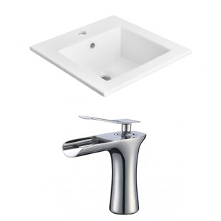 Purchase 1 Hole Ceramic Rectangular Drop-In Bathroom Sink with Faucet ByAmerican Imaginations
